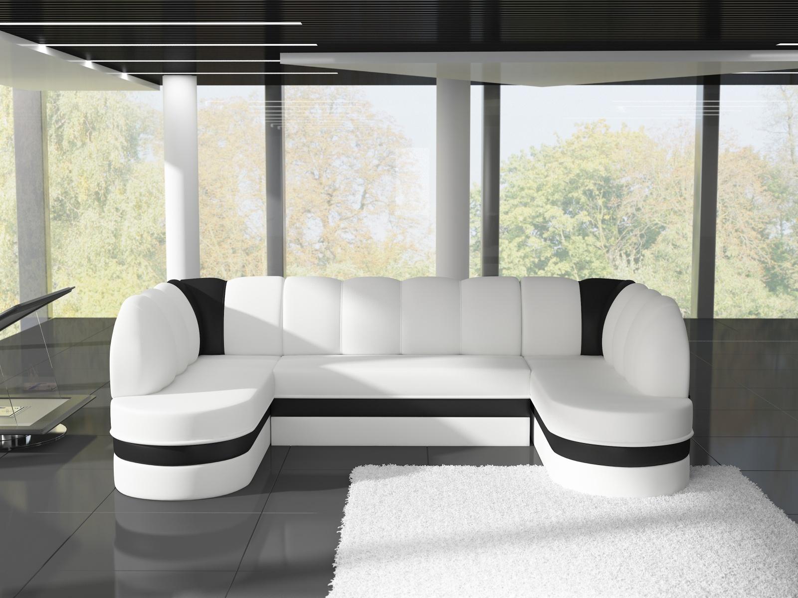 ELTAP Rohová sedačka KAREN 07, bílá ekokůže/černá ekokůže