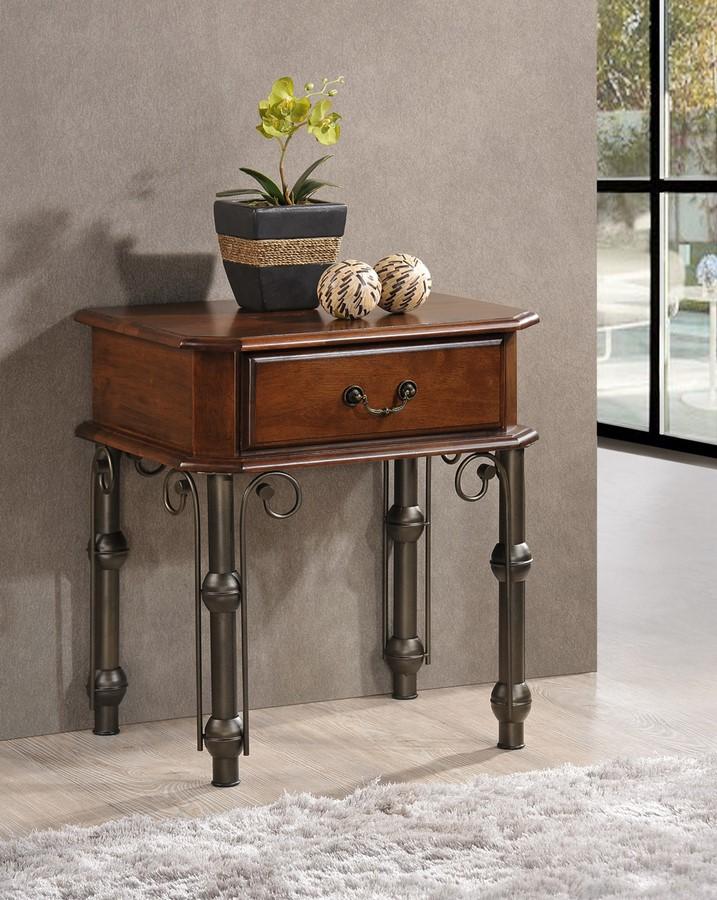 Smartshop Noční stolek FRIGG, antická třešeň/černý kov