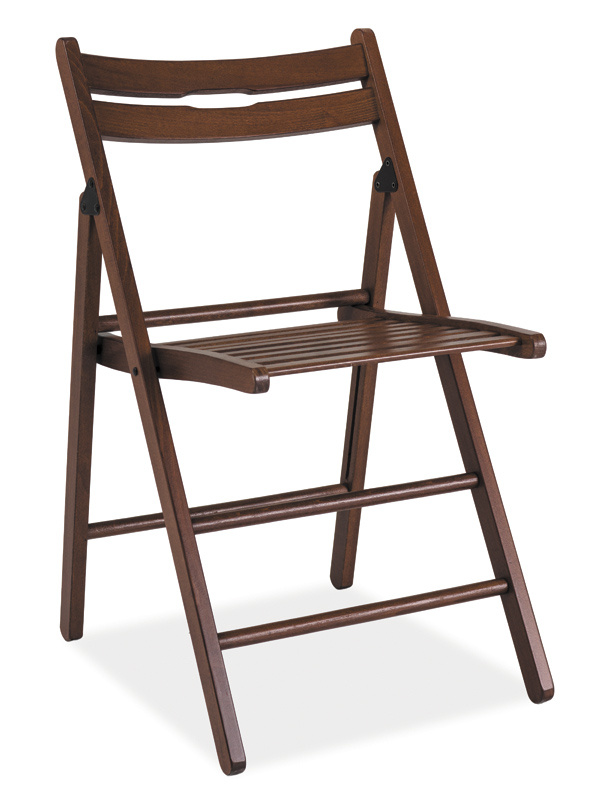 Smartshop Dřevěná skládací židle SMART tmavý ořech