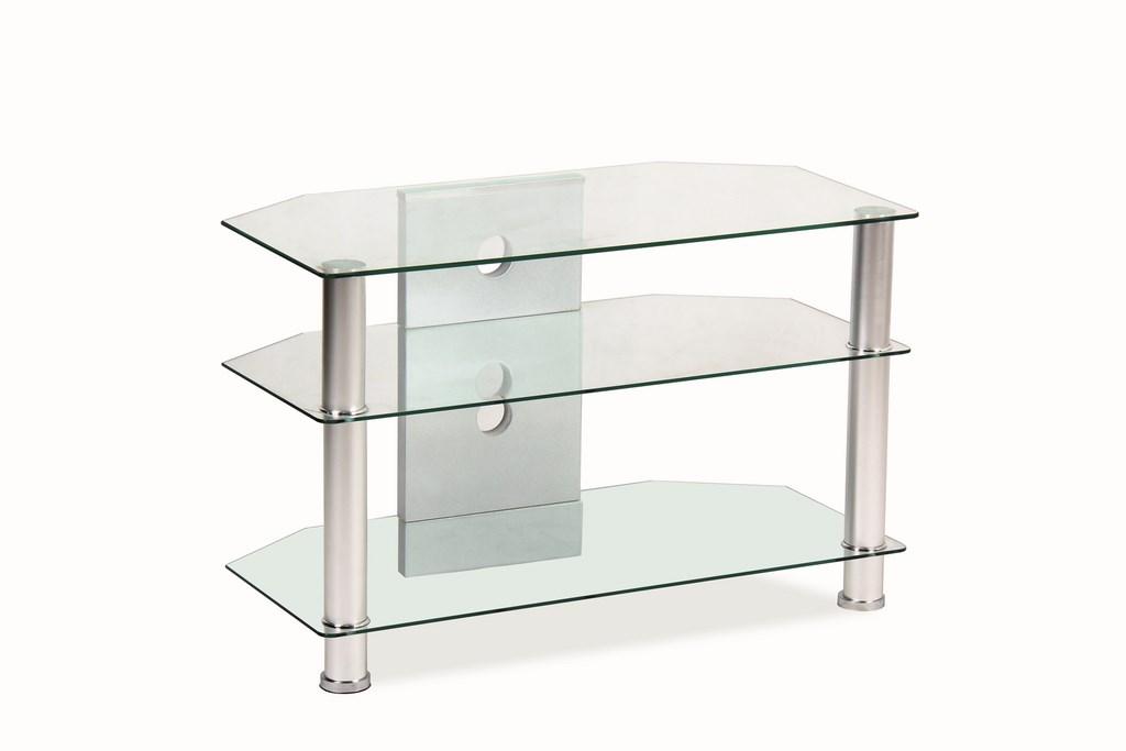 Televizní stolek TV-031 - transparent, kov/sklo