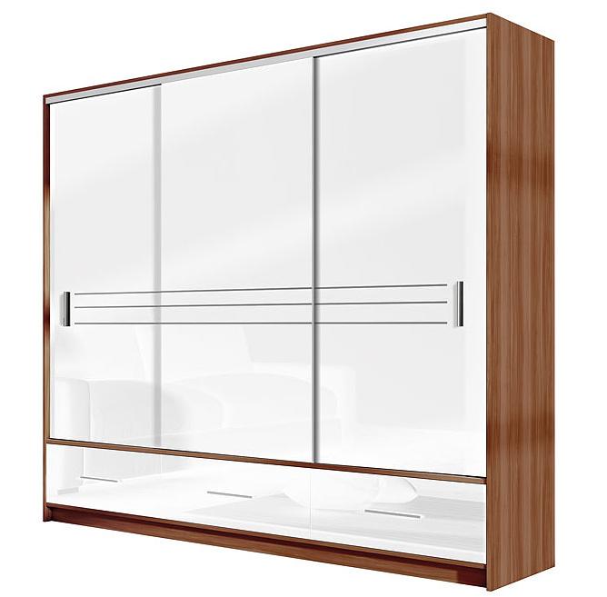 Šatní skříň AMSTERDAM 250 bílá/švestka