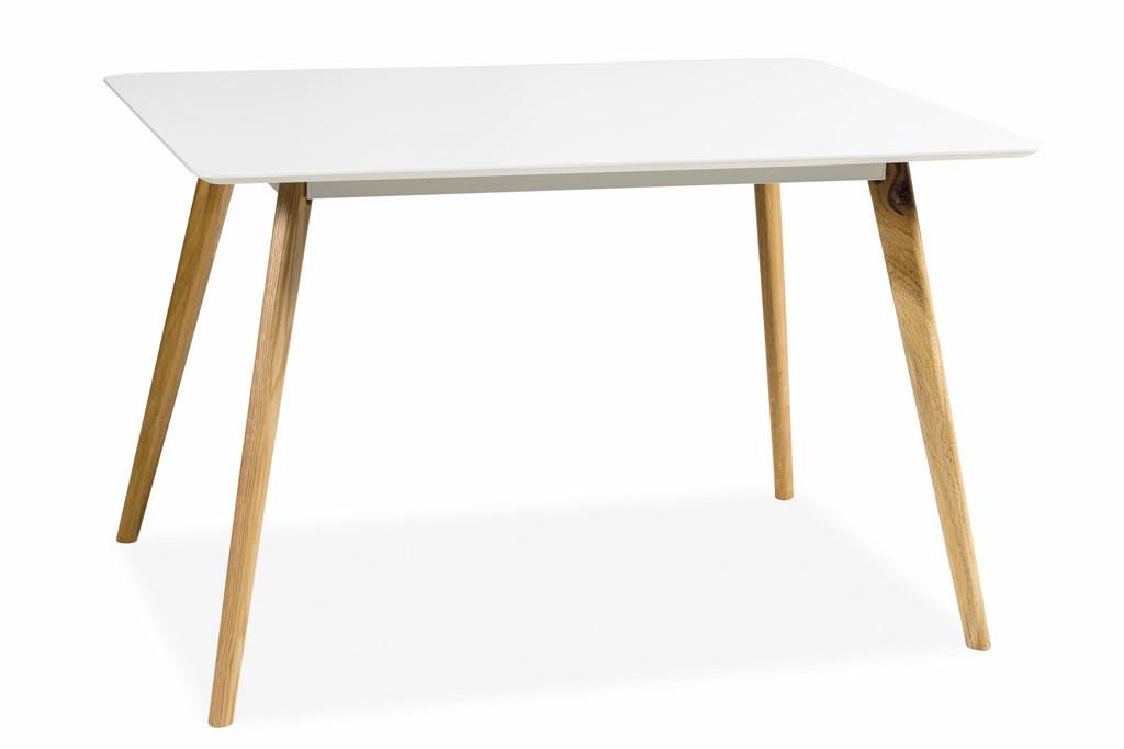 Jídelní stůl MILAN 120, bílá/dub
