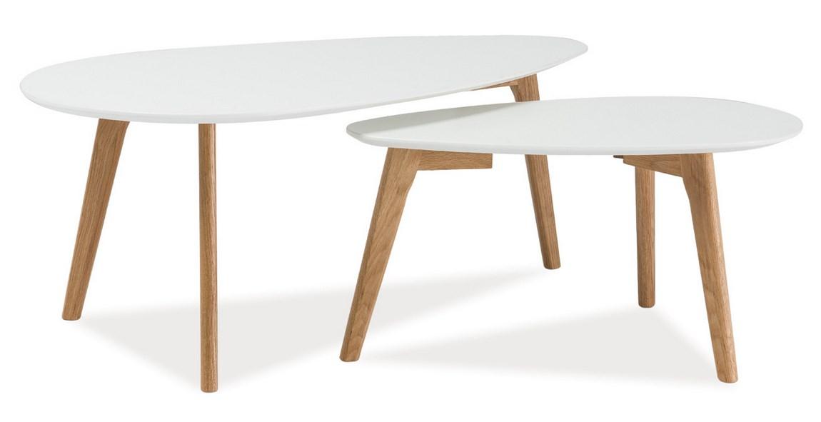 Konferenční stolky- sestava MILAN L2, bílá