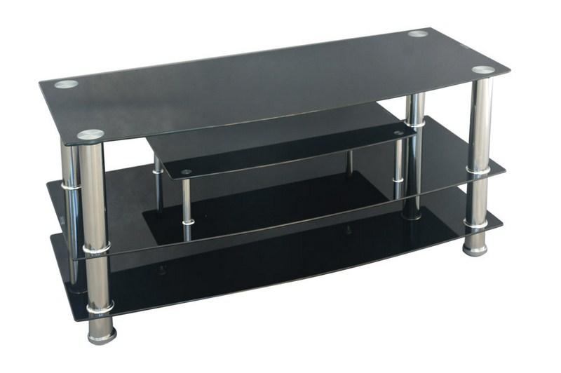 Televizní stolek TV-862, kov/černé sklo