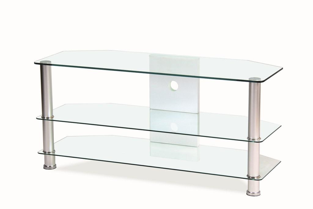 Televizní stolek TV-032 - transparent, kov/sklo