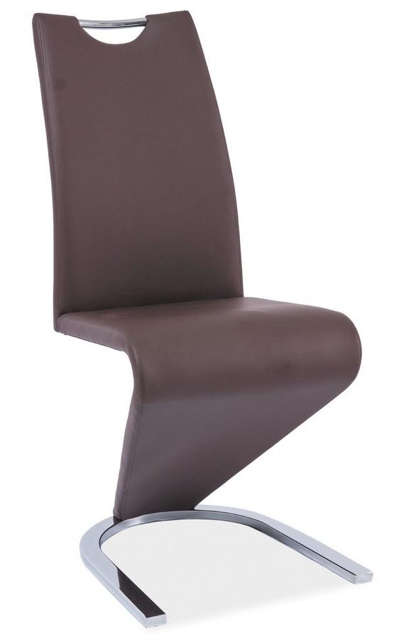 Smartshop Jídelní čalouněná židle H-090, hnědá/chrom