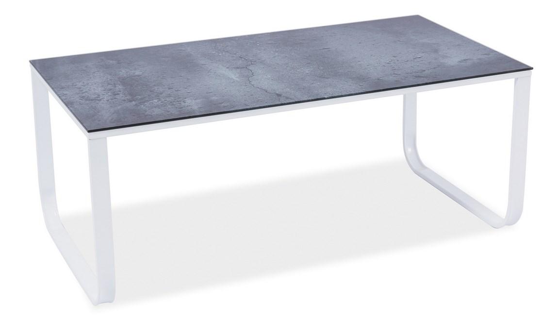 Konferenční stolek TAXI II šedý kámen/bílá