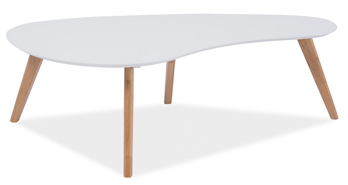 Konferenční stolek AUREA, bílá/dub