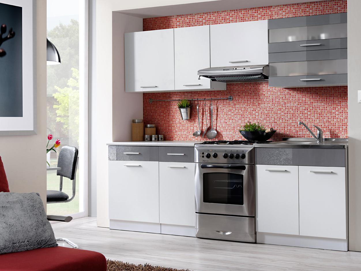 Smartshop Kuchyně MARTINA COM 180/240 cm, bílá/grafit lesk