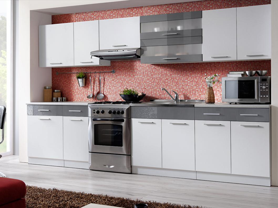 Smartshop Kuchyně MARTINA COM 260/320 cm, bílá/grafit lesk