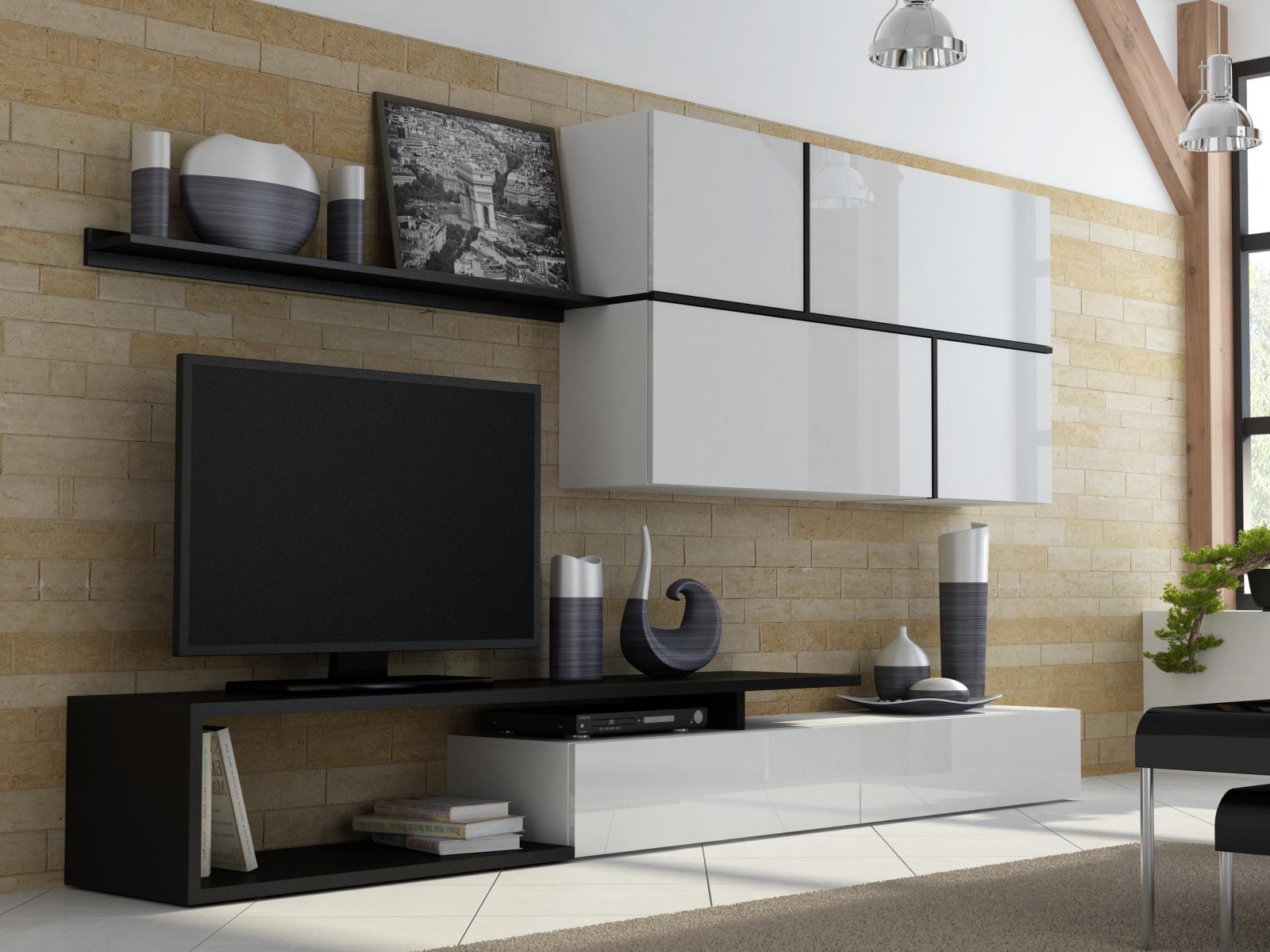 CAMA GOYA, obývací stěna, bílý lesk/černý mat