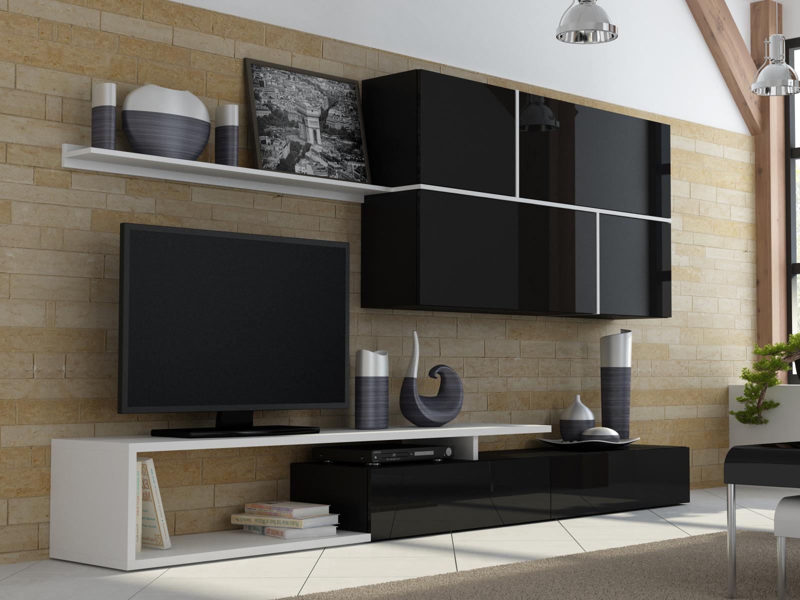 CAMA GOYA, obývací stěna, černý lesk/bílý mat