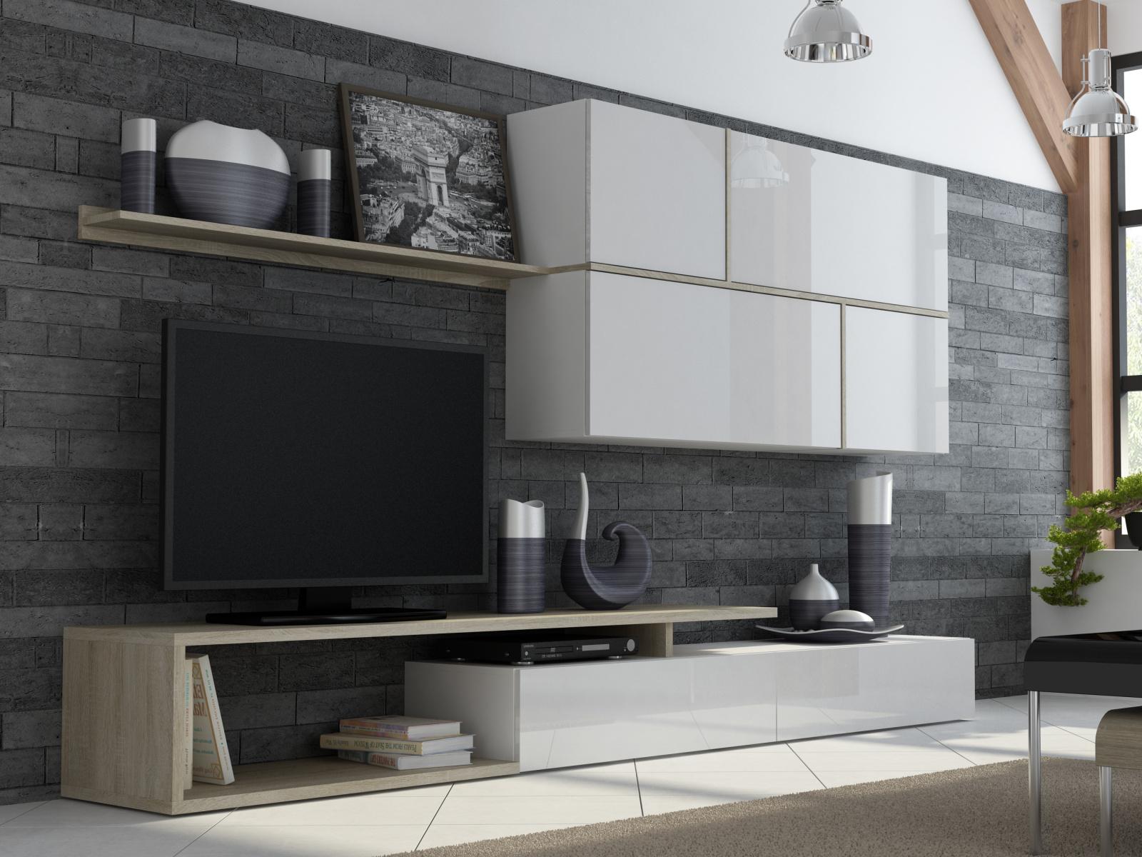 CAMA GOYA, obývací stěna, bílý lesk/dub sonoma