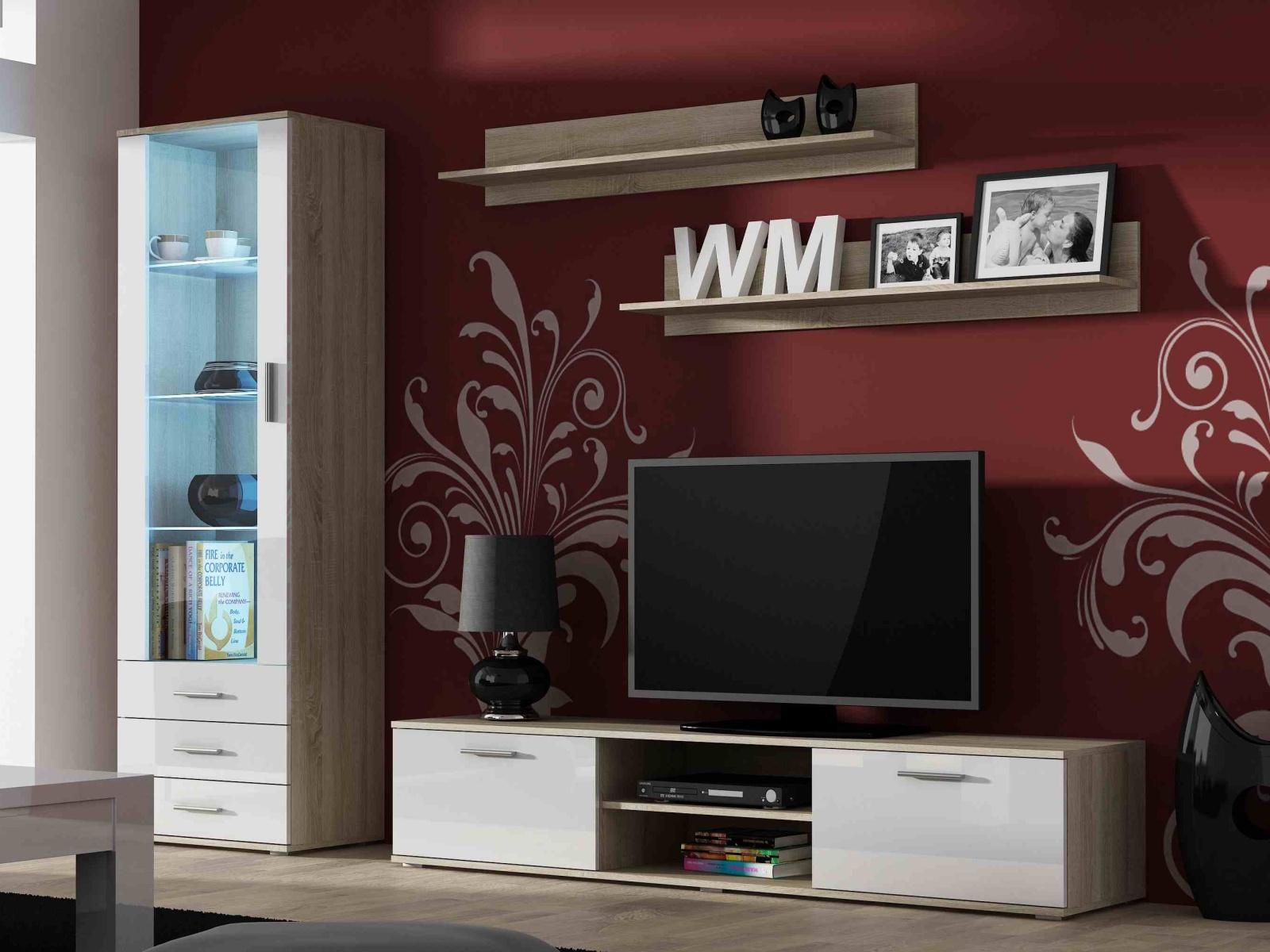 CAMA SOHO, obývací pokoj - sestava 1, dub sonoma/bílý lesk