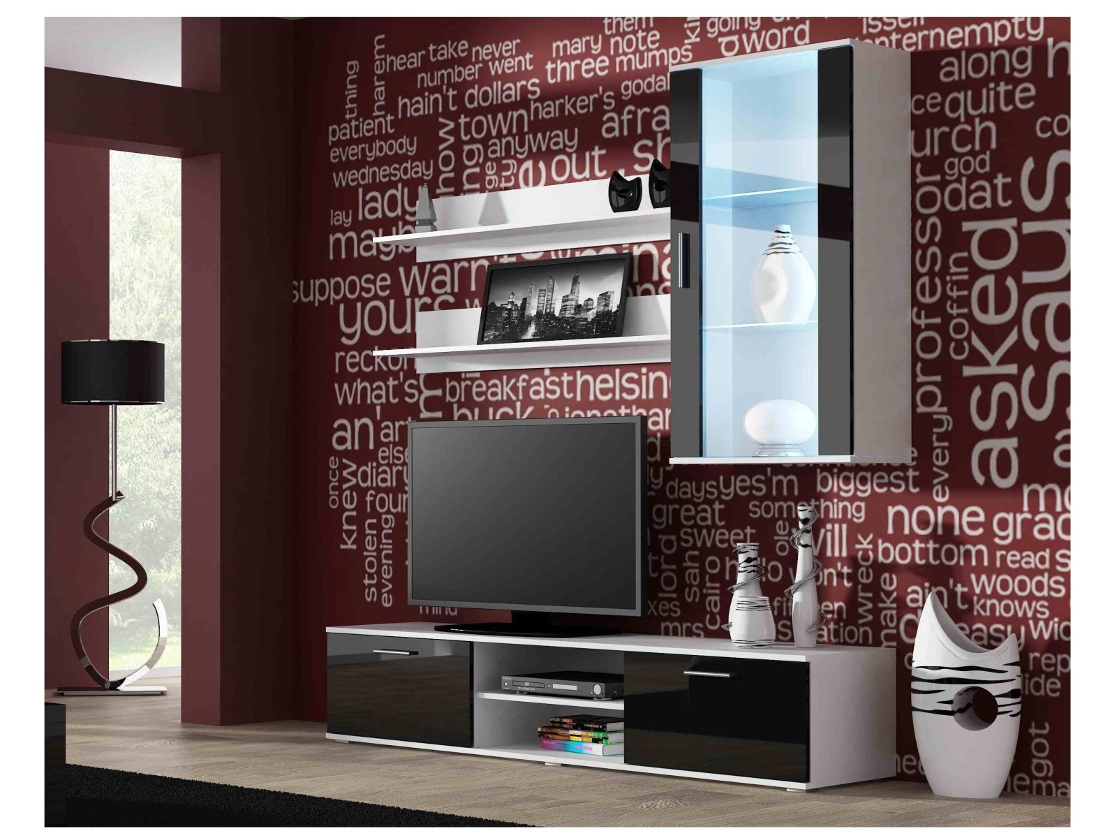 CAMA SOHO, obývací pokoj - sestava 2, bílý mat/černý lesk