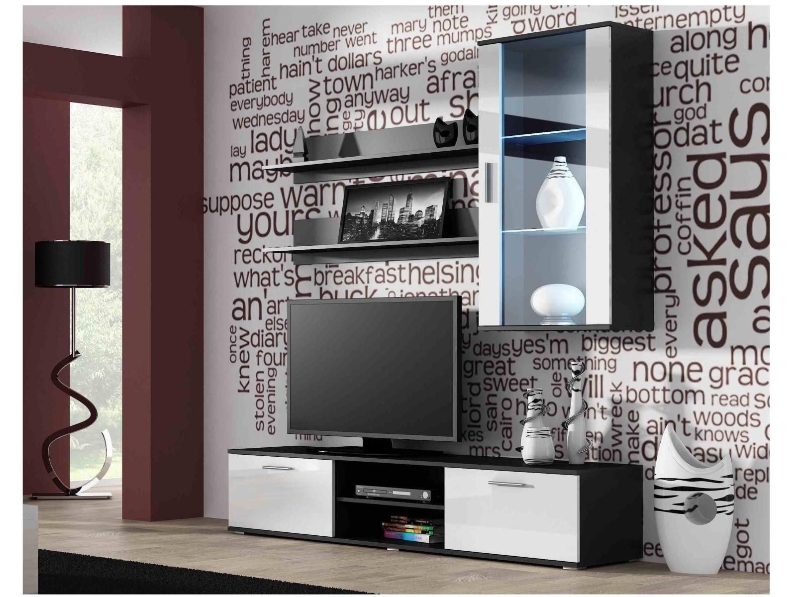 CAMA SOHO, obývací pokoj - sestava 2, černý mat/bílý lesk