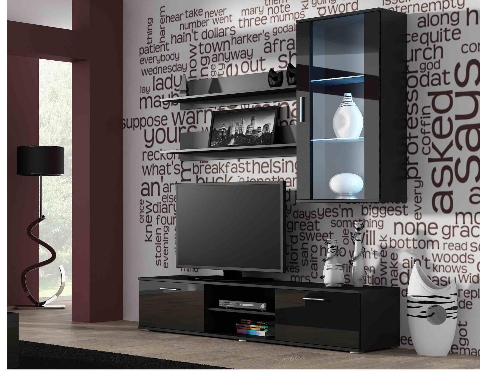 CAMA SOHO, obývací pokoj - sestava 2, černý mat/černý lesk