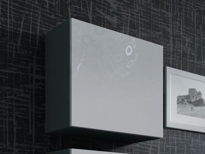 CAMA Vitrína čtvercová VIGO, šedá/bílý lesk