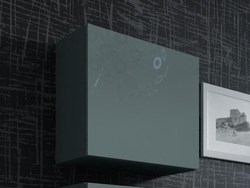 CAMA Vitrína čtvercová VIGO, šedá/šedý lesk
