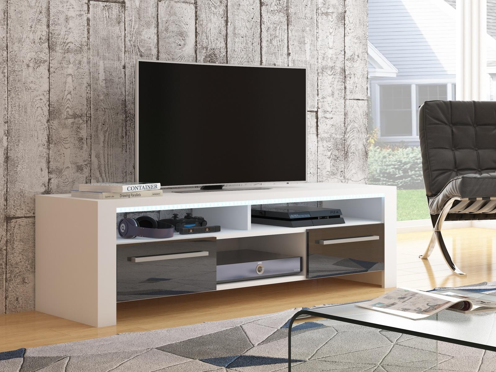 MORAVIA FLAT ROCKY televizní stolek, bílá/černý lesk