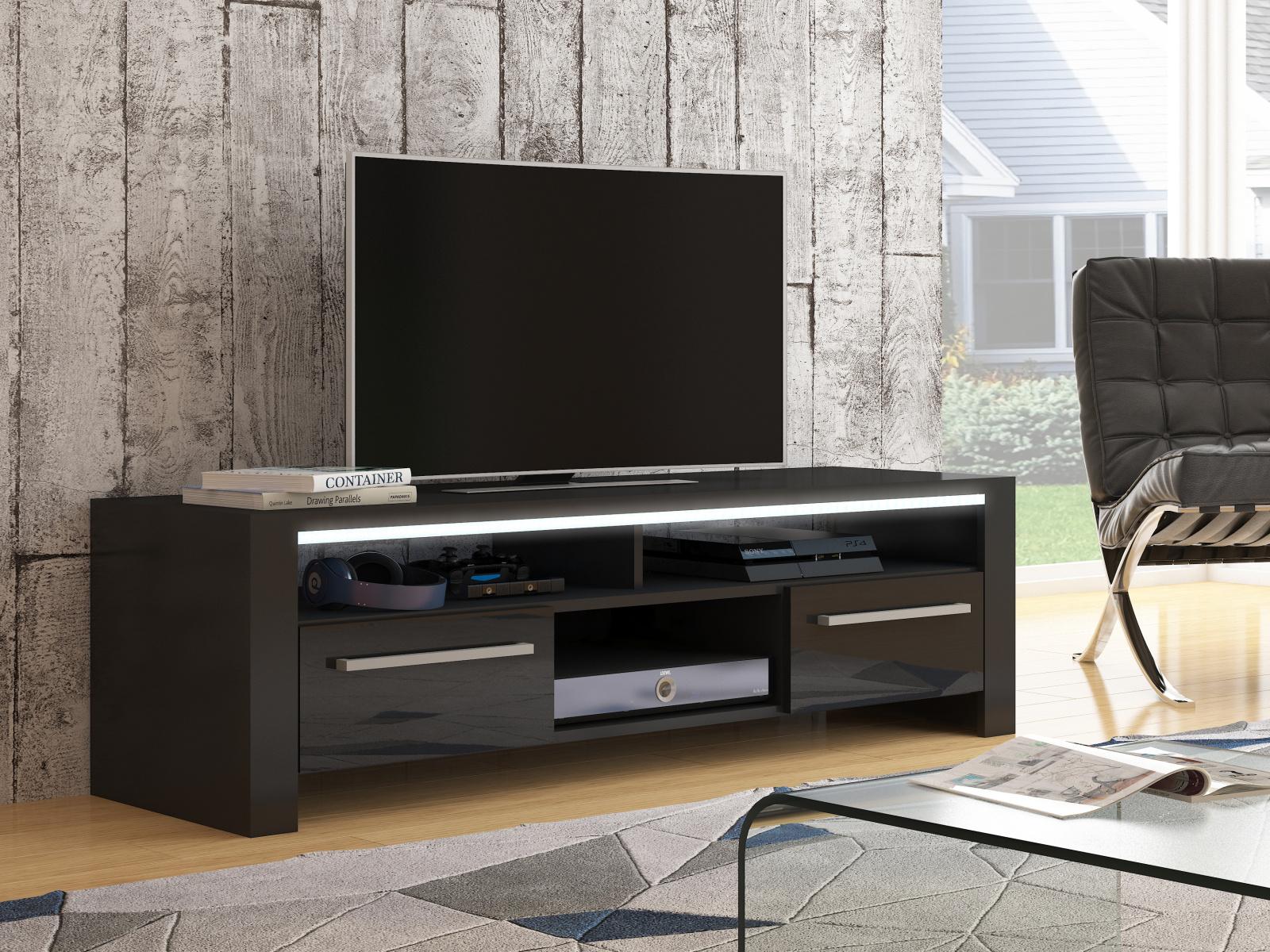 MORAVIA FLAT ROCKY televizní stolek, černá/černý lesk