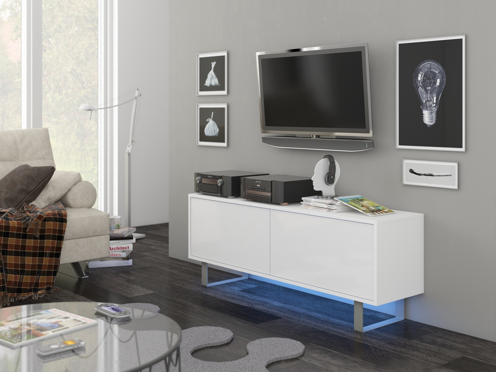 MORAVIA FLAT KING 1 TV stolek, bílá/bílý lesk