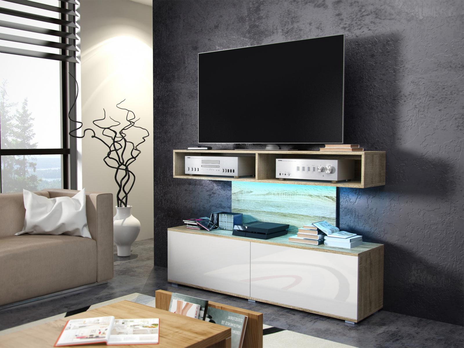 MORAVIA FLAT REX televizní stolek, dub sonoma/bílý lesk