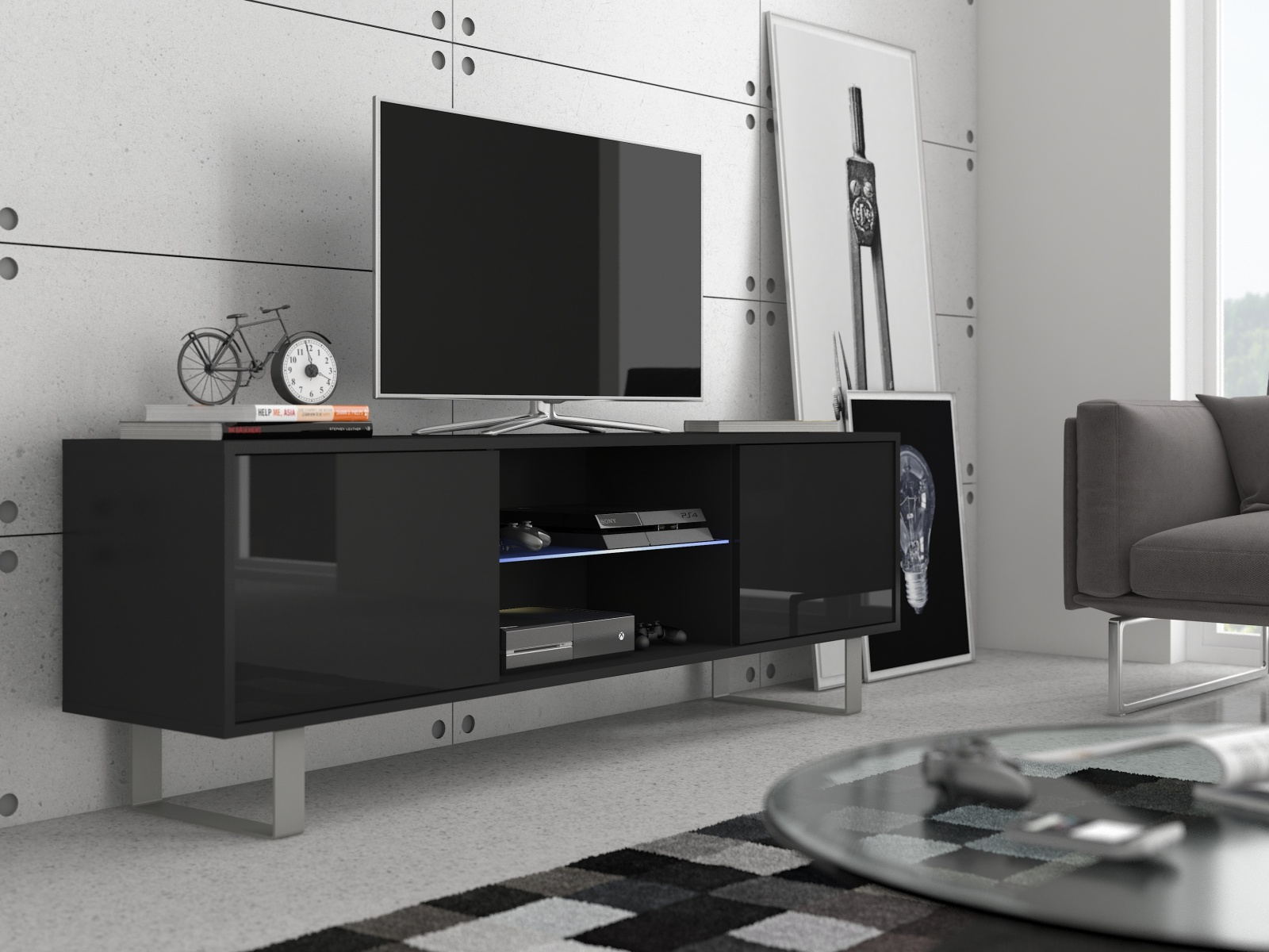 KING 2 TV stolek, černá/černý lesk