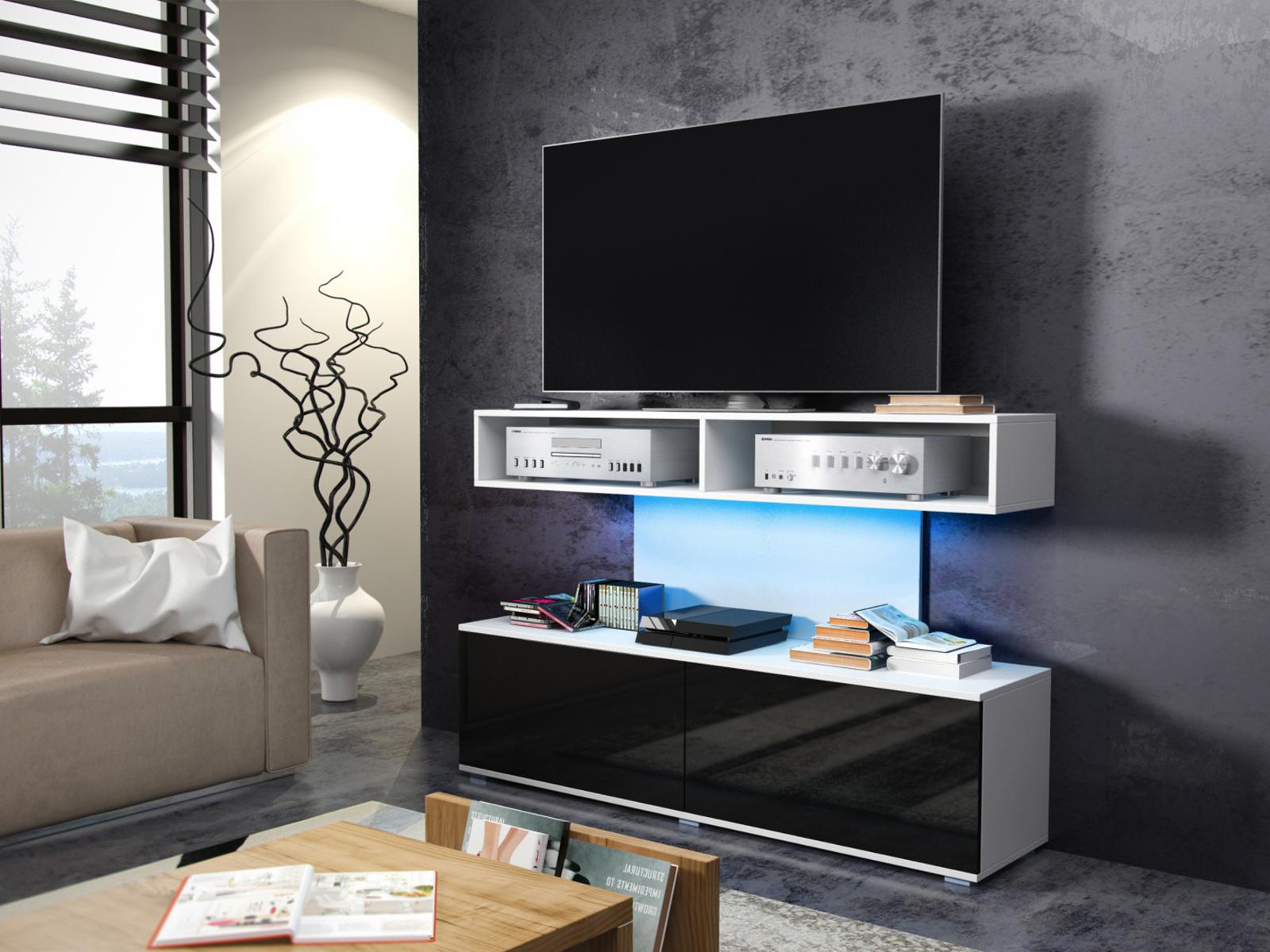 MORAVIA FLAT REX televizní stolek, bílá/černý lesk