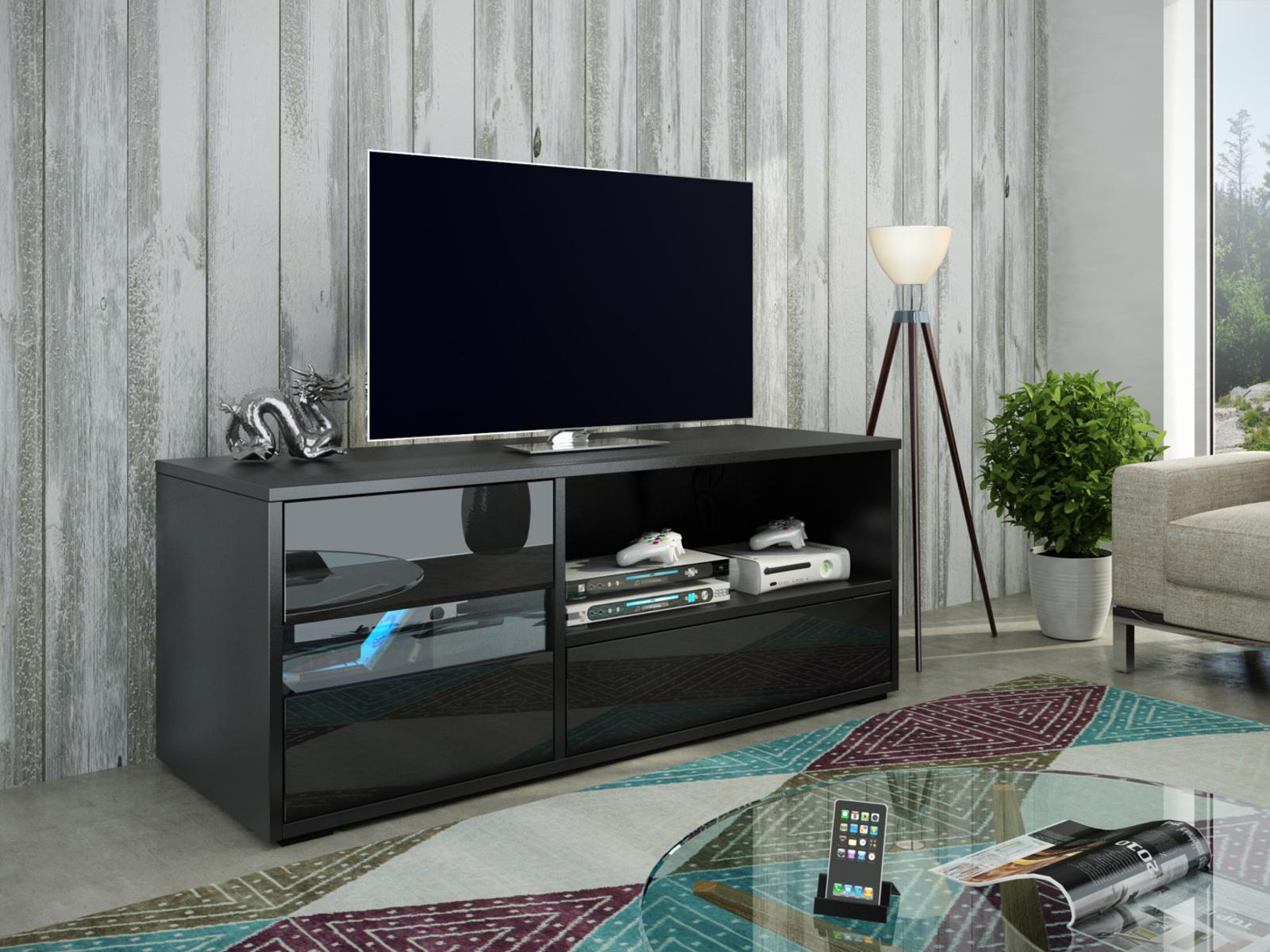 MORAVIA FLAT GLOBAL 1 televizní stolek, černá/černý lesk