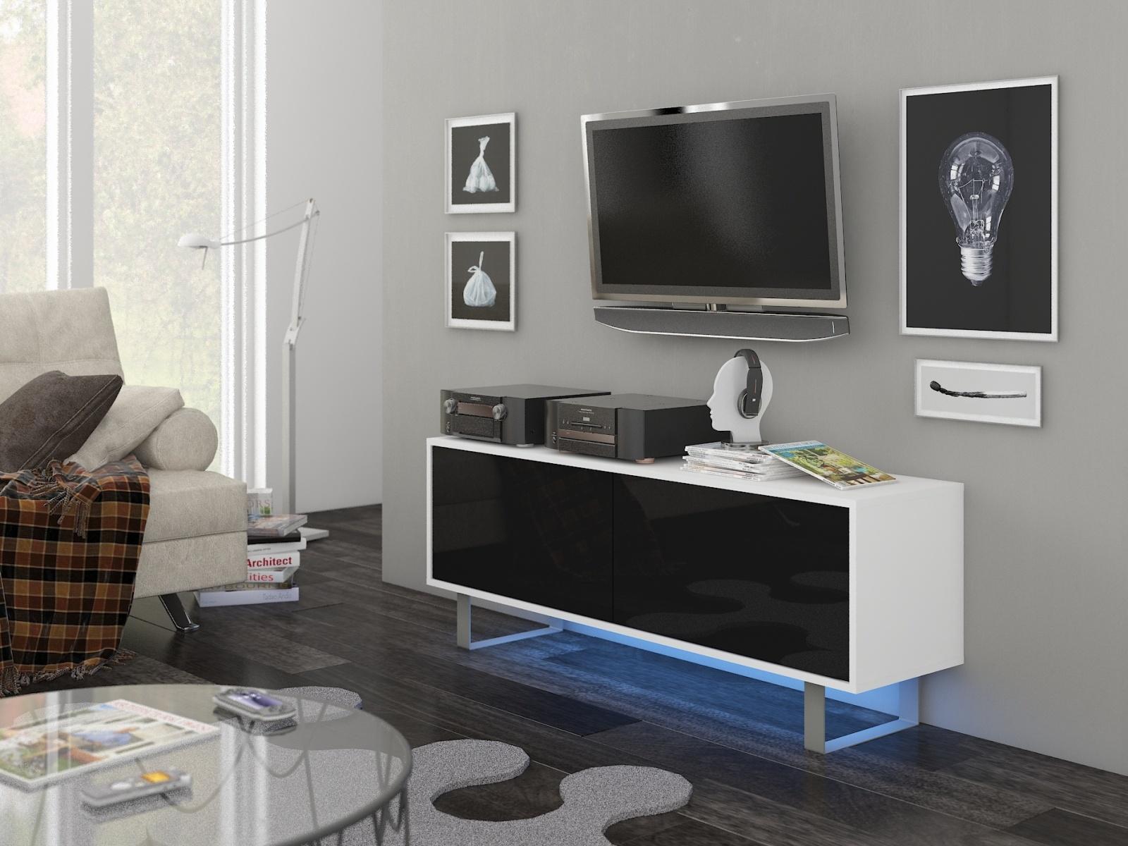 MORAVIA FLAT KING 1 TV stolek, bílá/černý lesk