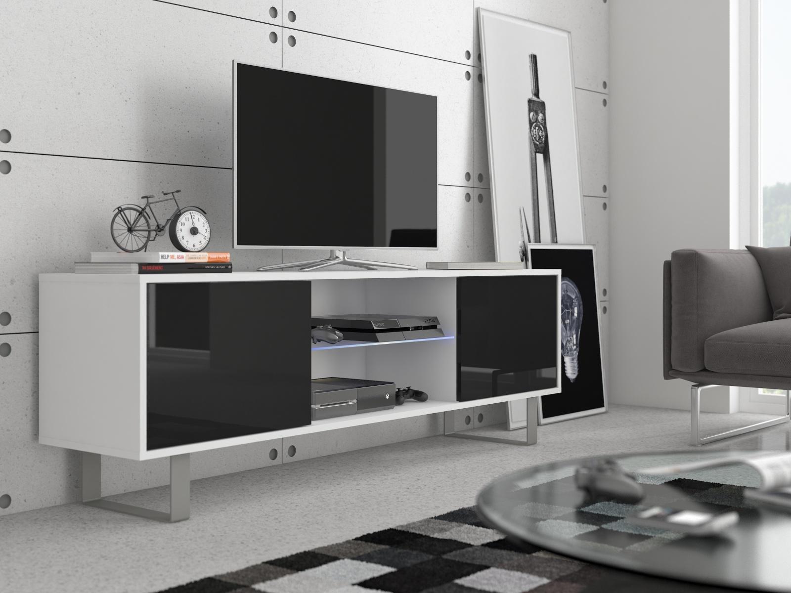 MORAVIA FLAT KING 2 TV stolek, bílá/černý lesk