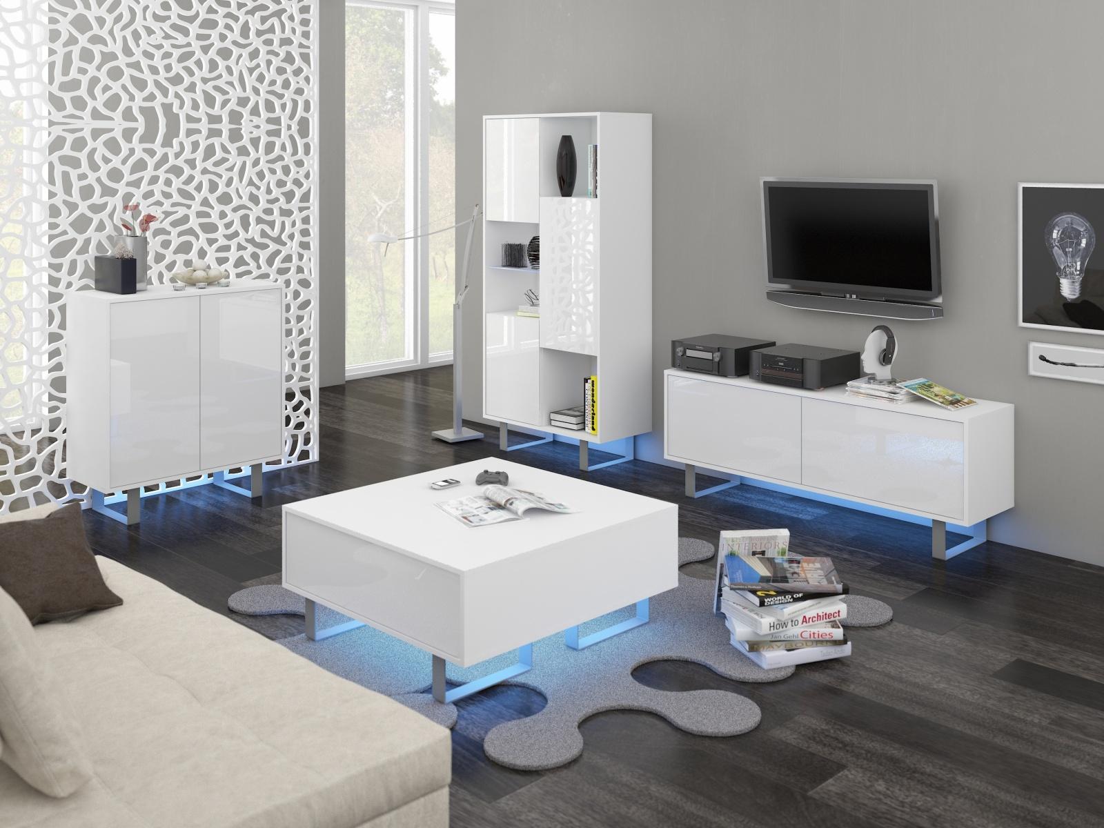 MORAVIA FLAT KING obývací pokoj - sestava 1, bílá/bílý lesk