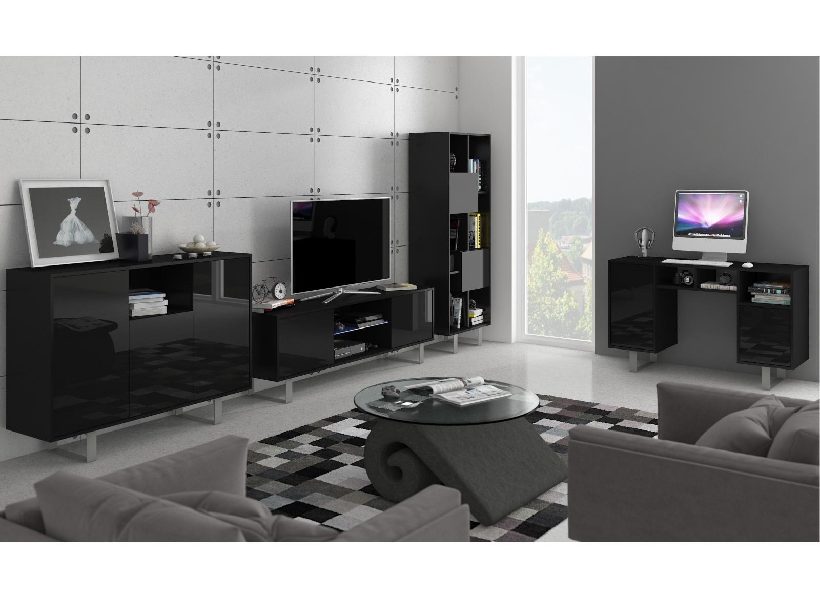 MORAVIA FLAT KING obývací pokoj - sestava 2, černá/černý lesk