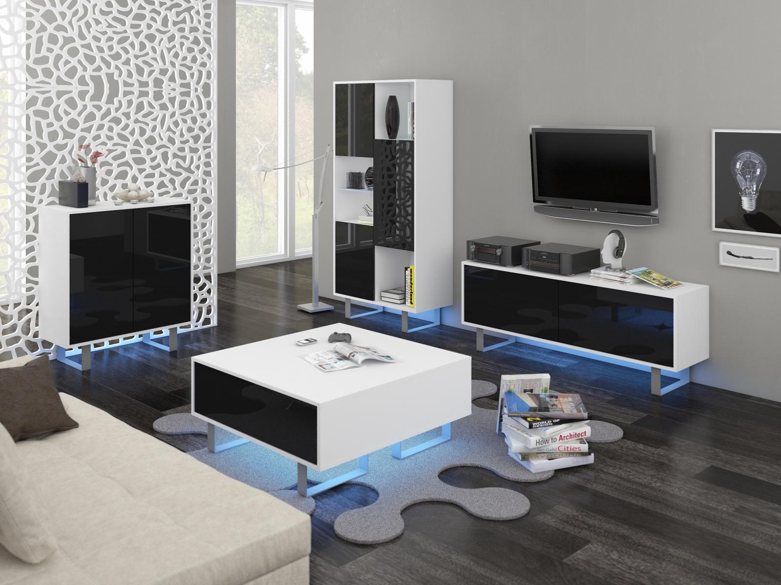 MORAVIA FLAT KING obývací pokoj - sestava 1, bílá/černý lesk