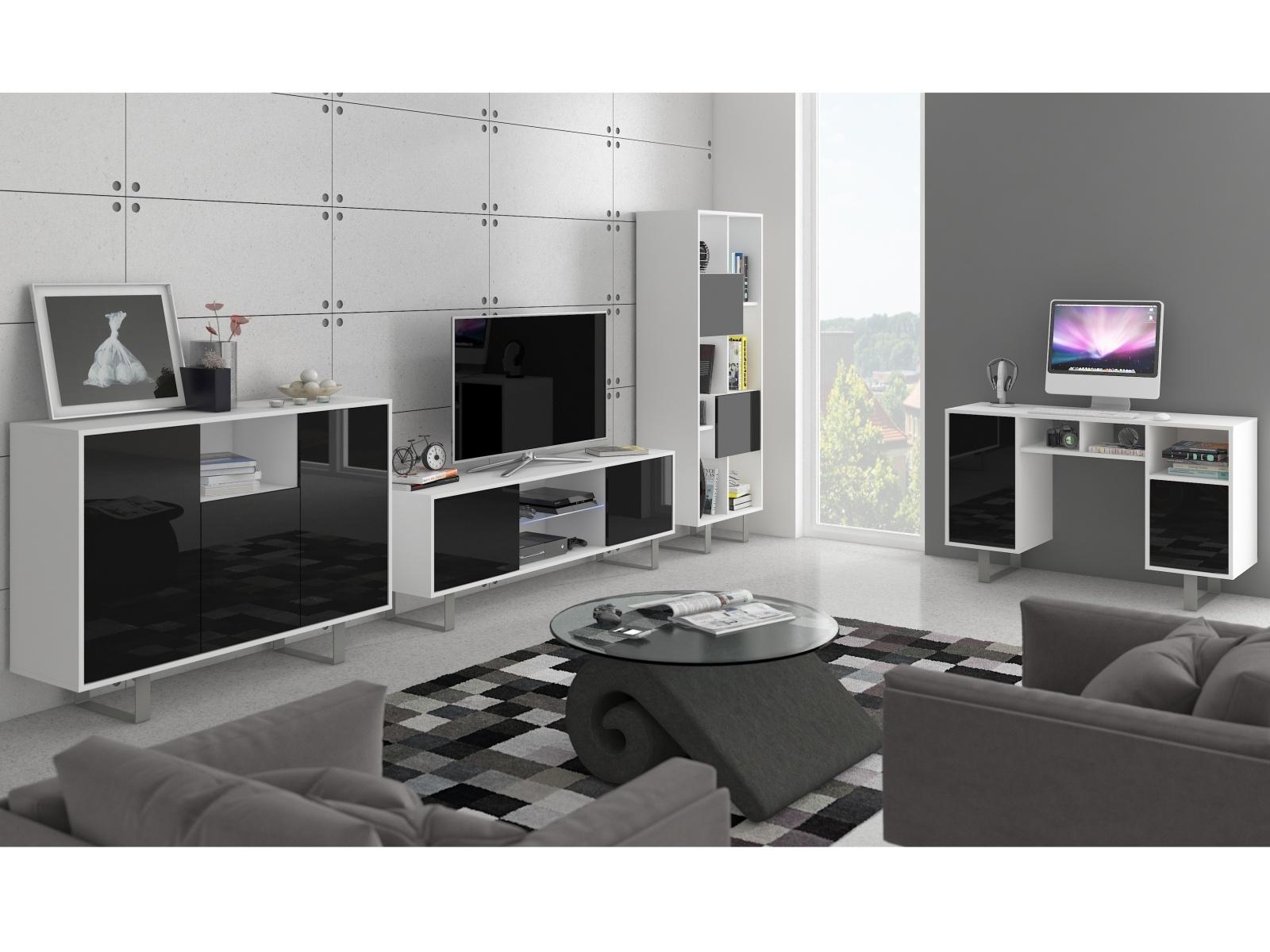 MORAVIA FLAT KING obývací pokoj - sestava 2, bílá/černý lesk