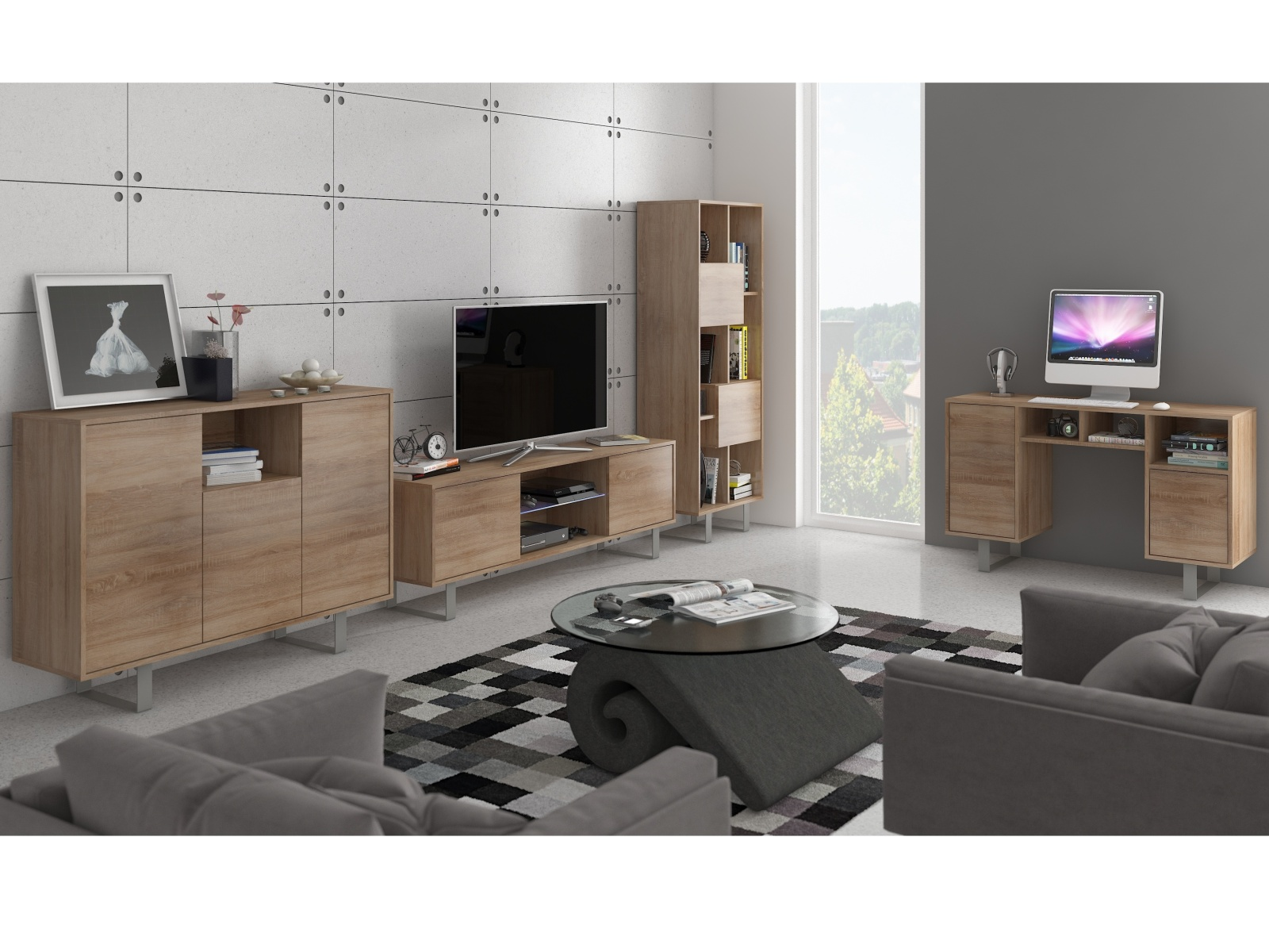 MORAVIA FLAT KING obývací pokoj - sestava 2, dub sonoma