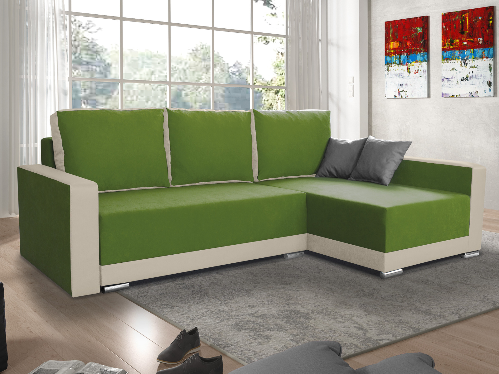 Smartshop Rohová sedačka EDEN 8 pravá, zelená látka/krémová ekokůže
