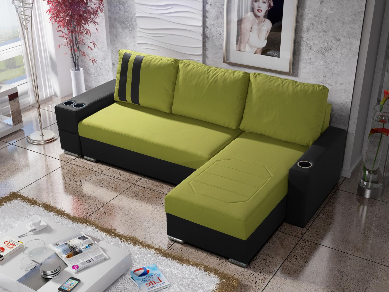 Smartshop Rohová sedačka ROY 5-266 pravá, zelená látka/černá ekokůže