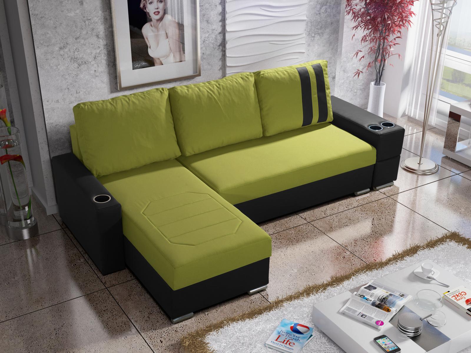 Smartshop Rohová sedačka ROY 5-266 levá, zelená látka/černá ekokůže