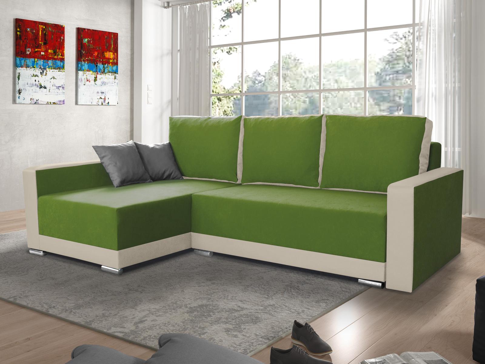 Smartshop Rohová sedačka EDEN 8 levá, zelená látka/krémová ekokůže