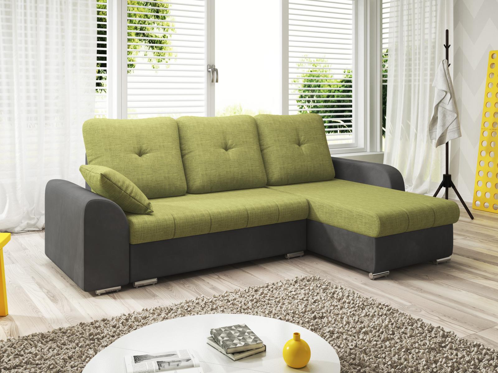 Smartshop Rohová sedačka DARLA 1-251 pravá, zelená látka/šedá látka