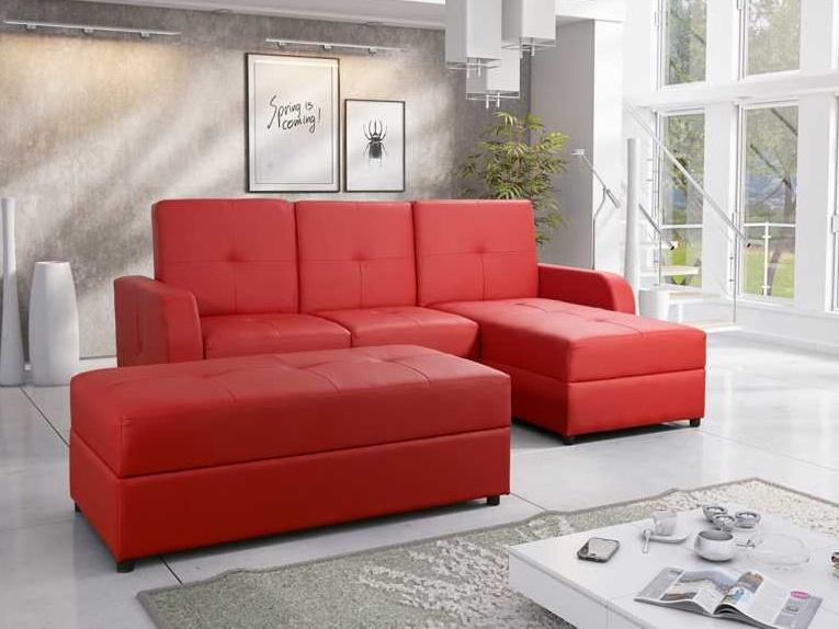 Smartshop Rohová sedačka BAZYL 3 s taburetem, červená ekokůže