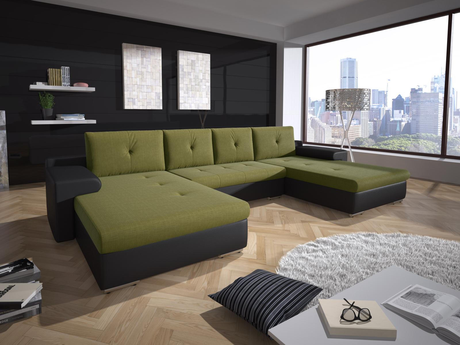 Smartshop Rohová sedačka MILANO 5, zelená látka/černá ekokůže