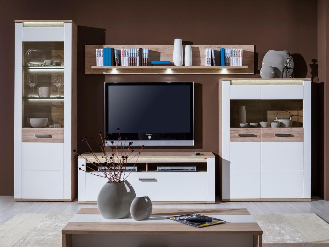 Decodom VERUNA obývací stěna typ 03, dub/bílá
