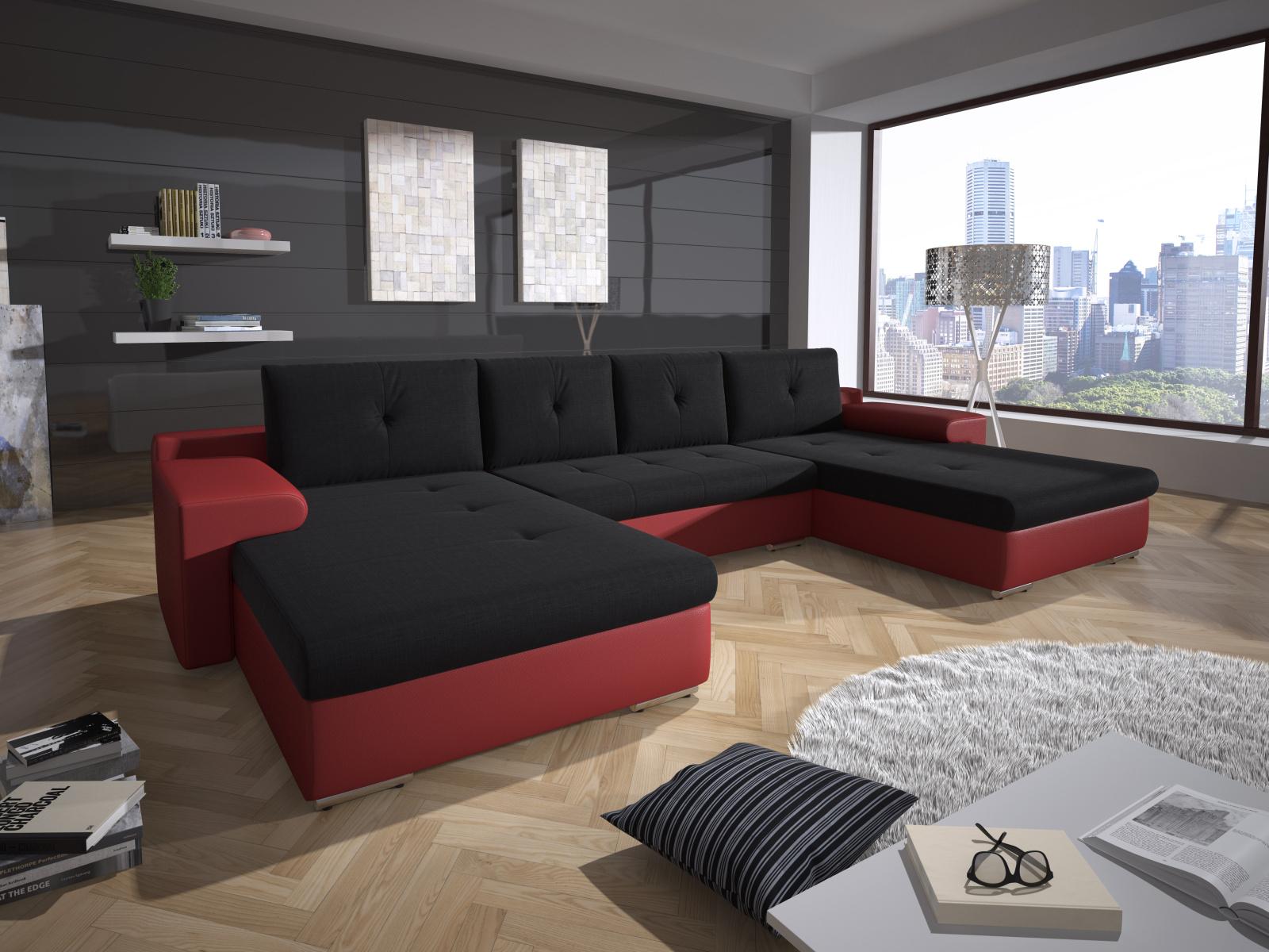 Smartshop Rohová sedačka MILANO 2, černá látka/červená ekokůže