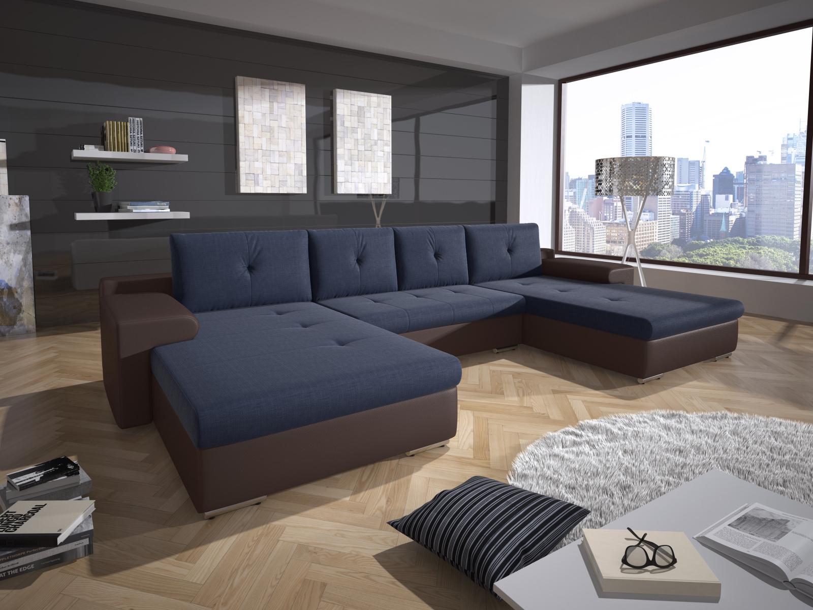 Smartshop Rohová sedačka MILANO 4, modrá látka/hnědá ekokůže