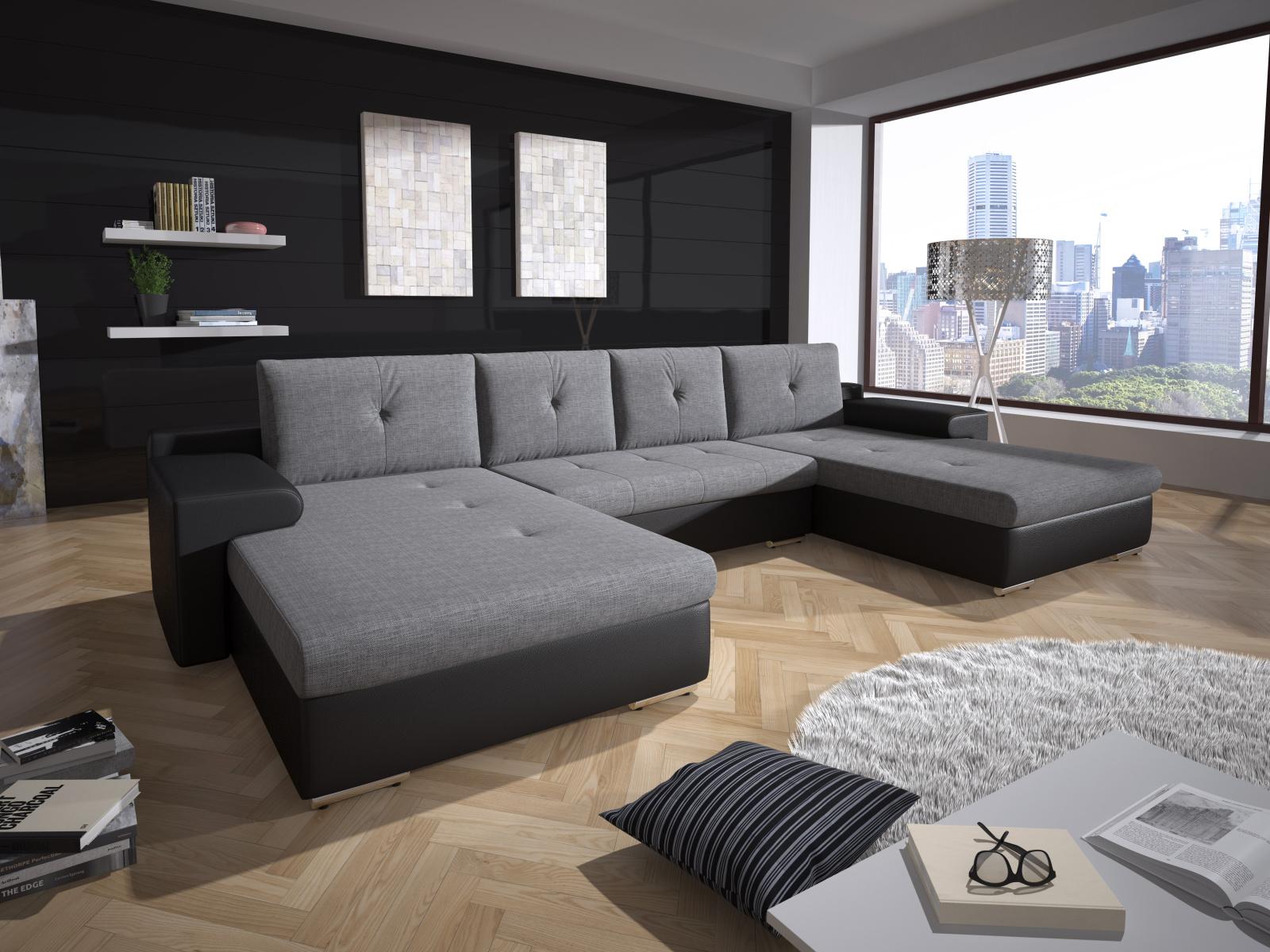 Smartshop Rohová sedačka MILANO 6, šedá látka/černá ekokůže