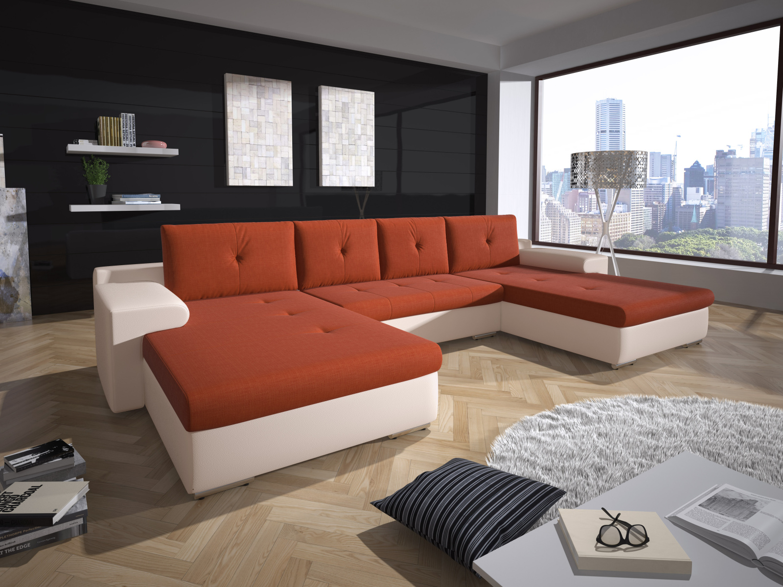 Smartshop Rohová sedačka MILANO 7, oranžová látka/krémová ekokůže