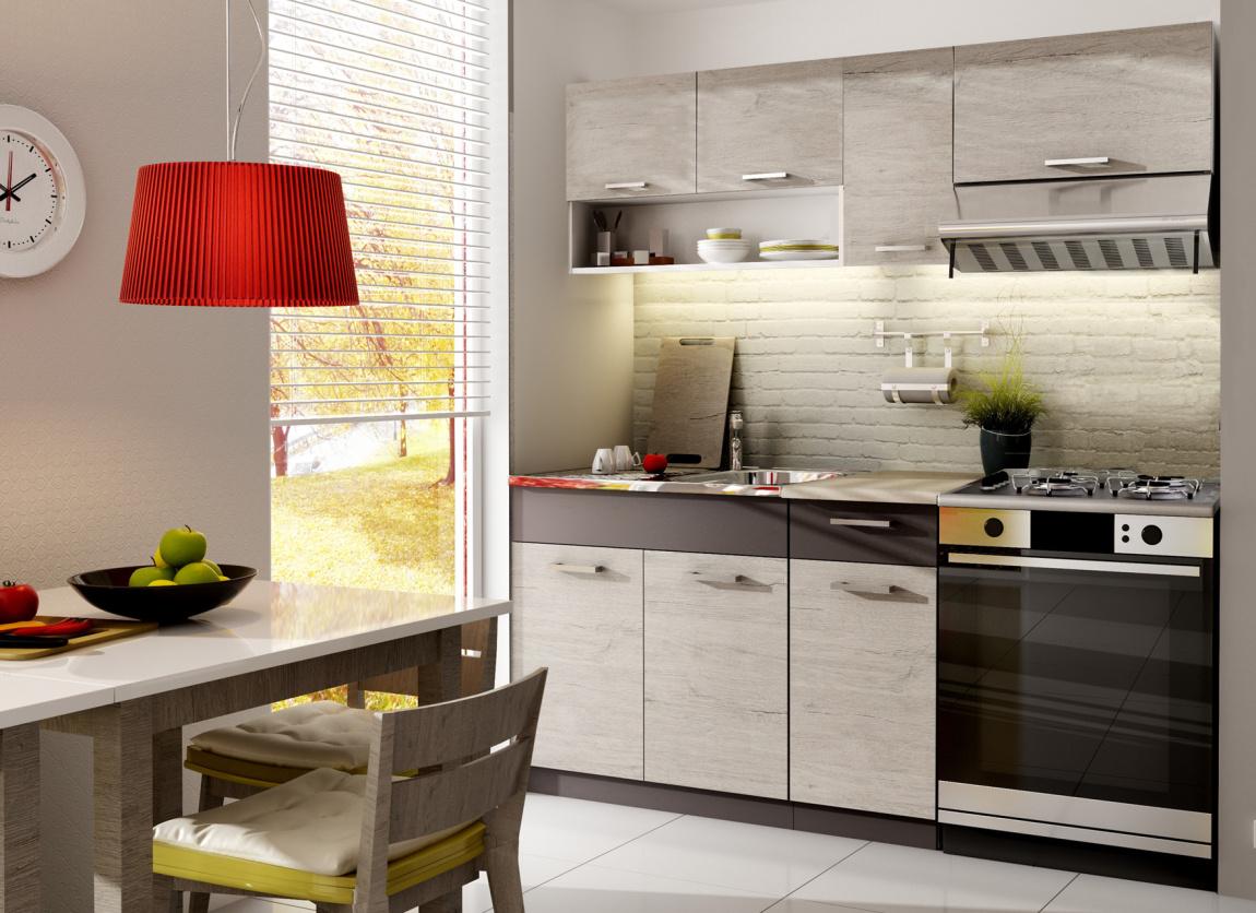 Kuchyně MORENO 120/180 cm, dub picard/lava